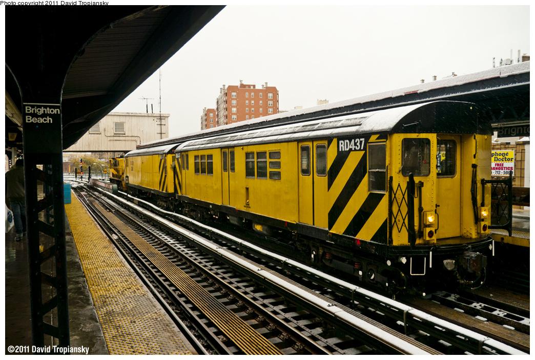 (424k, 1044x703)<br><b>Country:</b> United States<br><b>City:</b> New York<br><b>System:</b> New York City Transit<br><b>Line:</b> BMT Brighton Line<br><b>Location:</b> Brighton Beach <br><b>Route:</b> Work Service<br><b>Car:</b> R-161 Rider Car (ex-R-33)  RD437 <br><b>Photo by:</b> David Tropiansky<br><b>Date:</b> 10/29/2011<br><b>Notes:</b> De-icer train.<br><b>Viewed (this week/total):</b> 0 / 860