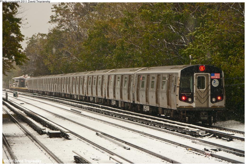 (483k, 1044x703)<br><b>Country:</b> United States<br><b>City:</b> New York<br><b>System:</b> New York City Transit<br><b>Line:</b> BMT Brighton Line<br><b>Location:</b> Avenue M <br><b>Route:</b> Q<br><b>Car:</b> R-160B (Option 1) (Kawasaki, 2008-2009)  9028 <br><b>Photo by:</b> David Tropiansky<br><b>Date:</b> 10/29/2011<br><b>Viewed (this week/total):</b> 0 / 1329