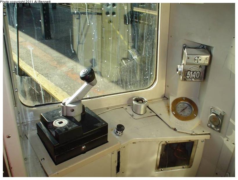 (163k, 820x620)<br><b>Country:</b> United States<br><b>City:</b> New York<br><b>System:</b> New York City Transit<br><b>Car:</b> R-68A (Kawasaki, 1988-1989)  5140 <br><b>Photo by:</b> Al Bennett, Jr.<br><b>Notes:</b> Motorman controls.<br><b>Viewed (this week/total):</b> 0 / 1447