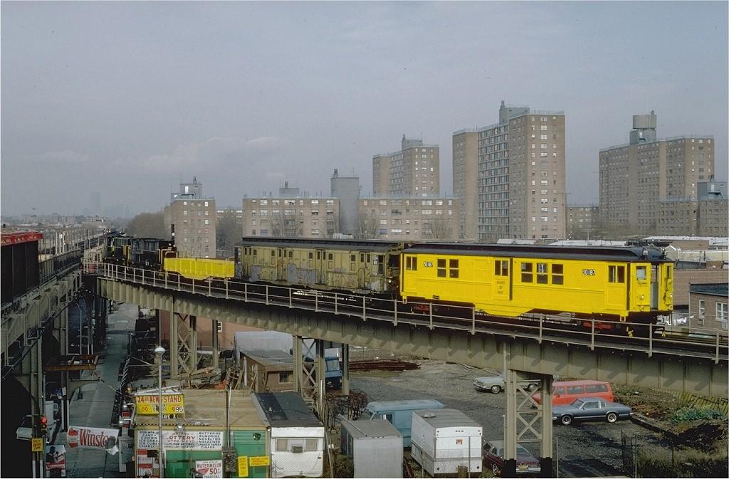 (203k, 1024x673)<br><b>Country:</b> United States<br><b>City:</b> New York<br><b>System:</b> New York City Transit<br><b>Line:</b> BMT West End Line<br><b>Location:</b> Bay 50th Street <br><b>Car:</b> Low-V 30187 (ex-4642)<br><b>Photo by:</b> Steve Zabel<br><b>Collection of:</b> Joe Testagrose<br><b>Date:</b> 12/3/1981<br><b>Viewed (this week/total):</b> 0 / 5858