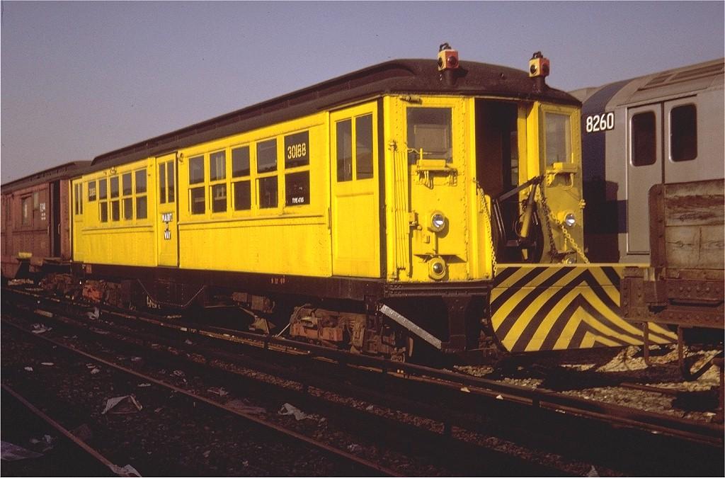 (200k, 1024x675)<br><b>Country:</b> United States<br><b>City:</b> New York<br><b>System:</b> New York City Transit<br><b>Location:</b> Coney Island Yard<br><b>Car:</b> Snow Plow (Low-V Converted) 30188 (ex-4785)<br><b>Photo by:</b> Steve Zabel<br><b>Collection of:</b> Joe Testagrose<br><b>Date:</b> 10/1971<br><b>Notes:</b> Snowplow<br><b>Viewed (this week/total):</b> 4 / 4710