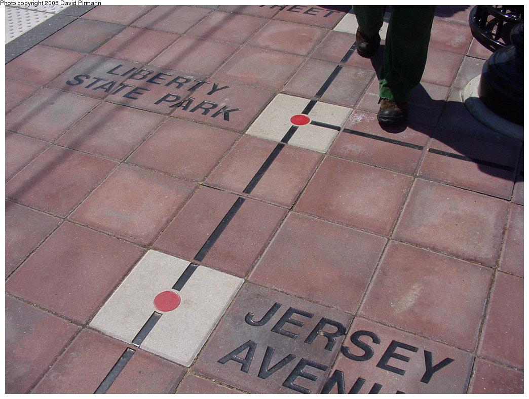 (188k, 1044x788)<br><b>Country:</b> United States<br><b>City:</b> Bayonne, NJ<br><b>System:</b> Hudson Bergen Light Rail<br><b>Location:</b> East 34th Street <br><b>Photo by:</b> David Pirmann<br><b>Date:</b> 4/29/2000<br><b>Notes:</b> Showing part of route map in station floor tile<br><b>Viewed (this week/total):</b> 5 / 3620
