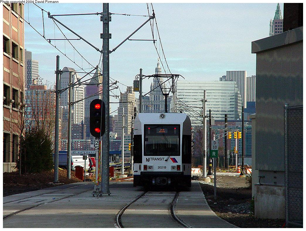 (328k, 1044x788)<br><b>Country:</b> United States<br><b>City:</b> Jersey City, NJ<br><b>System:</b> Hudson Bergen Light Rail<br><b>Location:</b> Harborside <br><b>Car:</b> NJT-HBLR LRV (Kinki-Sharyo, 1998-99)  2021 <br><b>Photo by:</b> David Pirmann<br><b>Date:</b> 11/12/2000<br><b>Viewed (this week/total):</b> 0 / 2684