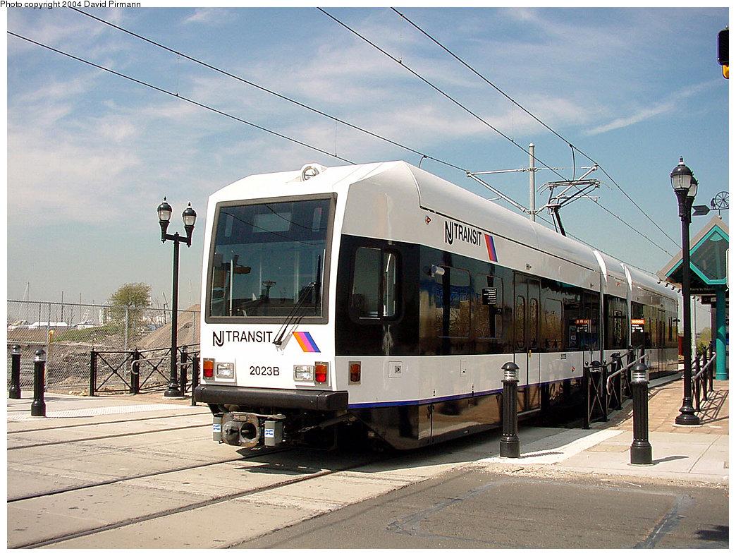 (261k, 1044x788)<br><b>Country:</b> United States<br><b>City:</b> Jersey City, NJ<br><b>System:</b> Hudson Bergen Light Rail<br><b>Location:</b> Marin Boulevard <br><b>Car:</b> NJT-HBLR LRV (Kinki-Sharyo, 1998-99)  2023 <br><b>Photo by:</b> David Pirmann<br><b>Date:</b> 4/29/2000<br><b>Viewed (this week/total):</b> 0 / 2841