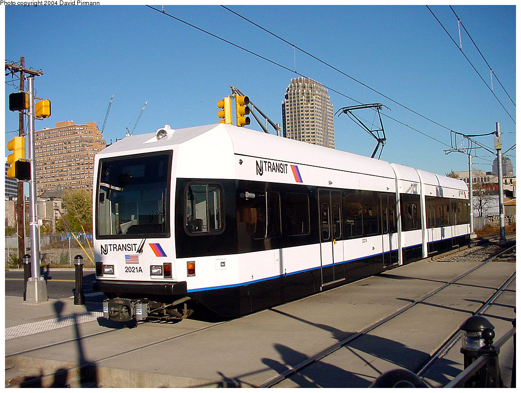 (278k, 1044x788)<br><b>Country:</b> United States<br><b>City:</b> Jersey City, NJ<br><b>System:</b> Hudson Bergen Light Rail<br><b>Location:</b> Marin Boulevard <br><b>Car:</b> NJT-HBLR LRV (Kinki-Sharyo, 1998-99)  2021 <br><b>Photo by:</b> David Pirmann<br><b>Date:</b> 11/11/2001<br><b>Viewed (this week/total):</b> 3 / 3053
