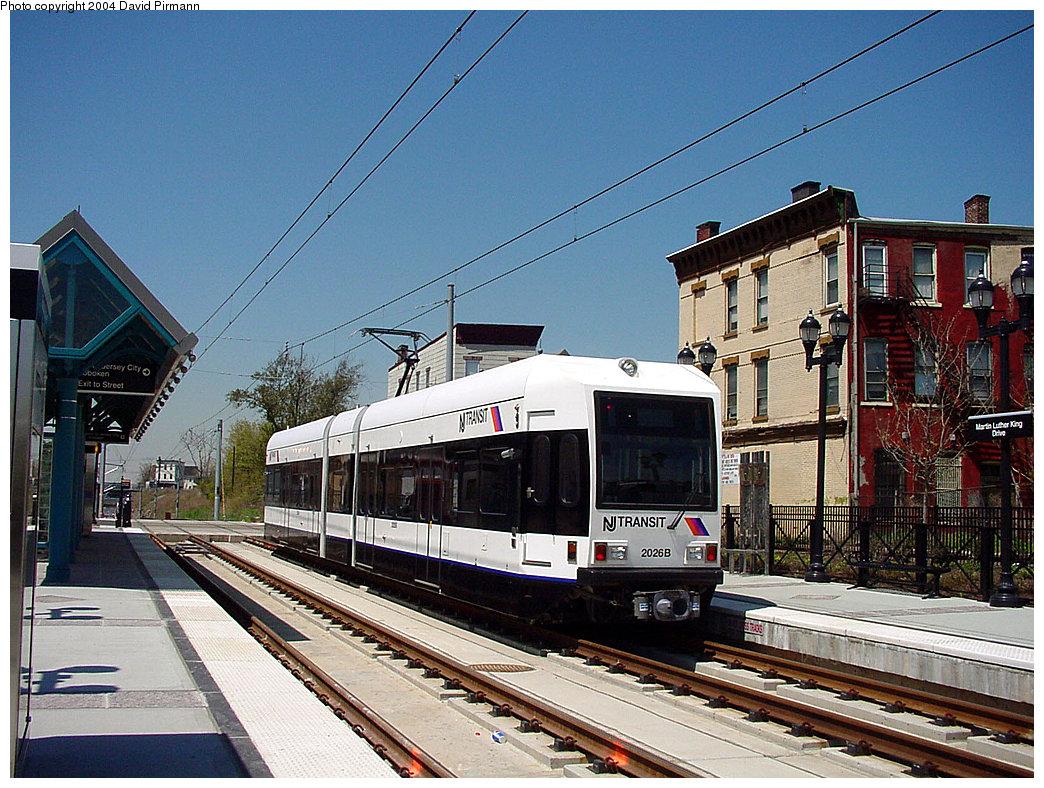 (305k, 1044x788)<br><b>Country:</b> United States<br><b>City:</b> Jersey City, NJ<br><b>System:</b> Hudson Bergen Light Rail<br><b>Location:</b> Martin Luther King Drive <br><b>Car:</b> NJT-HBLR LRV (Kinki-Sharyo, 1998-99)  2026 <br><b>Photo by:</b> David Pirmann<br><b>Date:</b> 4/29/2000<br><b>Viewed (this week/total):</b> 0 / 4870