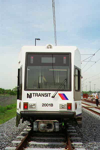 (70k, 400x600)<br><b>Country:</b> United States<br><b>City:</b> Jersey City, NJ<br><b>System:</b> Hudson Bergen Light Rail<br><b>Location:</b> HBLR Shops/Yard <br><b>Car:</b> NJT-HBLR LRV (Kinki-Sharyo, 1998-99)  2001 <br><b>Photo by:</b> Sidney Keyles<br><b>Date:</b> 6/5/1999<br><b>Notes:</b> Front view showing coupler<br><b>Viewed (this week/total):</b> 0 / 1994