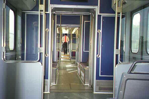 (84k, 600x400)<br><b>Country:</b> United States<br><b>City:</b> Jersey City, NJ<br><b>System:</b> Hudson Bergen Light Rail<br><b>Car:</b> NJT-HBLR LRV (Kinki-Sharyo, 1998-99)  2001 <br><b>Photo by:</b> Sidney Keyles<br><b>Date:</b> 6/5/1999<br><b>Notes:</b> Interior showing articulation joints<br><b>Viewed (this week/total):</b> 1 / 2528