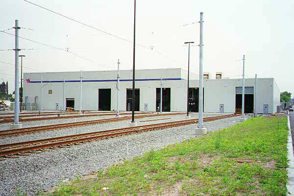 (106k, 600x400)<br><b>Country:</b> United States<br><b>City:</b> Jersey City, NJ<br><b>System:</b> Hudson Bergen Light Rail<br><b>Location:</b> HBLR Shops/Yard <br><b>Photo by:</b> Sidney Keyles<br><b>Date:</b> 6/5/1999<br><b>Notes:</b> Repair and maintenance shop<br><b>Viewed (this week/total):</b> 0 / 2114