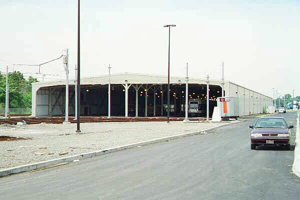 (61k, 600x400)<br><b>Country:</b> United States<br><b>City:</b> Jersey City, NJ<br><b>System:</b> Hudson Bergen Light Rail<br><b>Location:</b> HBLR Shops/Yard <br><b>Photo by:</b> Sidney Keyles<br><b>Date:</b> 6/5/1999<br><b>Notes:</b> Car barn<br><b>Viewed (this week/total):</b> 0 / 2155