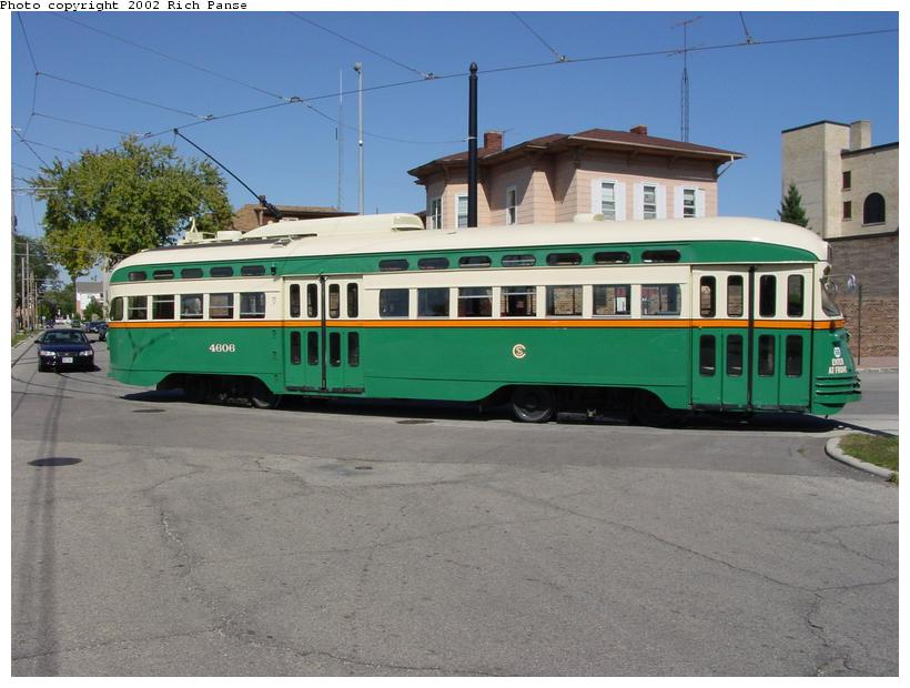 (76k, 820x620)<br><b>Country:</b> United States<br><b>City:</b> Kenosha, WI<br><b>System:</b> Kenosha Electric Railway<br><b>Location:</b> 11th Ave. & 56th St. (South to East Turn) <br><b>Car:</b> PCC (TTC Toronto) 4606 <br><b>Photo by:</b> Richard Panse<br><b>Date:</b> 9/21/2002<br><b>Viewed (this week/total):</b> 3 / 4832