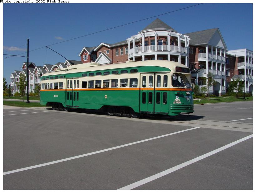 (74k, 820x620)<br><b>Country:</b> United States<br><b>City:</b> Kenosha, WI<br><b>System:</b> Kenosha Electric Railway<br><b>Location:</b> 56th St. & 2nd Ave. (Eastbound) <br><b>Car:</b> PCC (TTC Toronto) 4606 <br><b>Photo by:</b> Richard Panse<br><b>Date:</b> 9/21/2002<br><b>Viewed (this week/total):</b> 5 / 5599