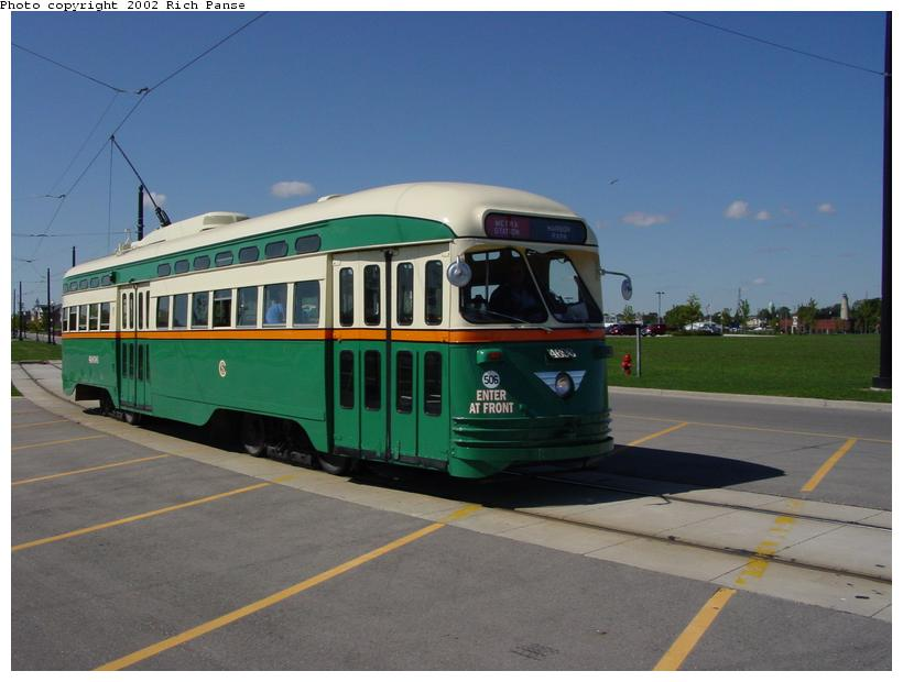 (61k, 820x620)<br><b>Country:</b> United States<br><b>City:</b> Kenosha, WI<br><b>System:</b> Kenosha Electric Railway<br><b>Location:</b> Ring Road & Celebration Place <br><b>Car:</b> PCC (TTC Toronto) 4606 <br><b>Photo by:</b> Richard Panse<br><b>Date:</b> 9/21/2002<br><b>Viewed (this week/total):</b> 1 / 3899