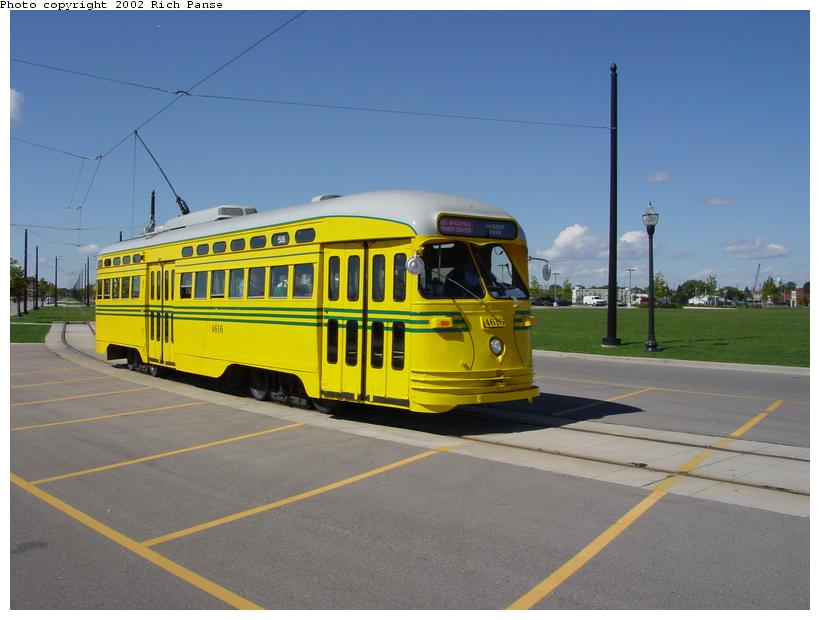 (64k, 820x620)<br><b>Country:</b> United States<br><b>City:</b> Kenosha, WI<br><b>System:</b> Kenosha Electric Railway<br><b>Location:</b> 56th St. & Ring Road <br><b>Car:</b> PCC (TTC Toronto) 4616 <br><b>Photo by:</b> Richard Panse<br><b>Date:</b> 9/21/2002<br><b>Viewed (this week/total):</b> 1 / 2829