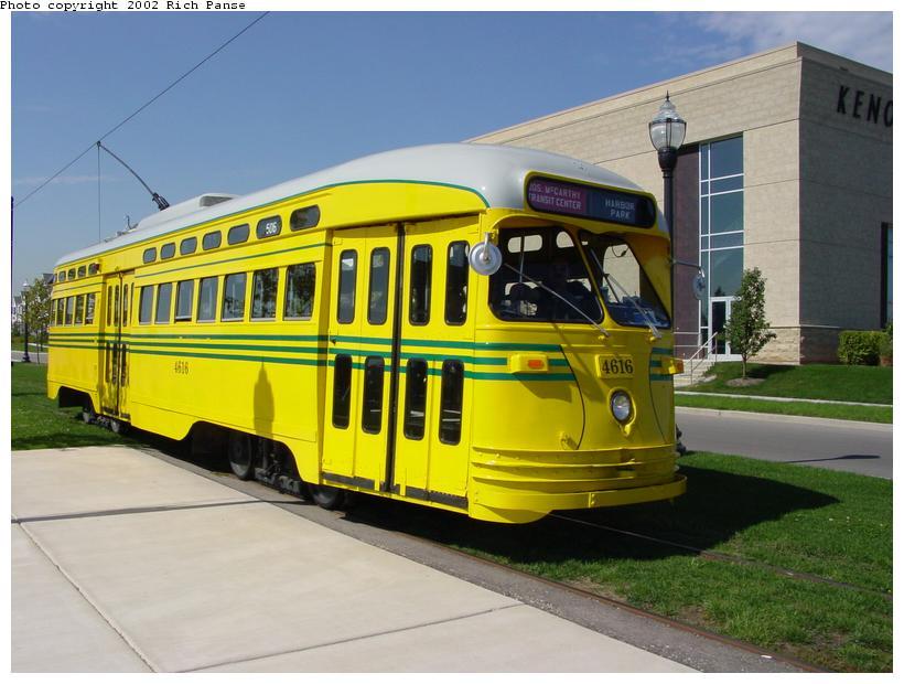 (79k, 820x620)<br><b>Country:</b> United States<br><b>City:</b> Kenosha, WI<br><b>System:</b> Kenosha Electric Railway<br><b>Location:</b> 56th St. & 1st Ave. (Eastbound) <br><b>Car:</b> PCC (TTC Toronto) 4616 <br><b>Photo by:</b> Richard Panse<br><b>Date:</b> 9/21/2002<br><b>Notes:</b> Museum<br><b>Viewed (this week/total):</b> 2 / 3208