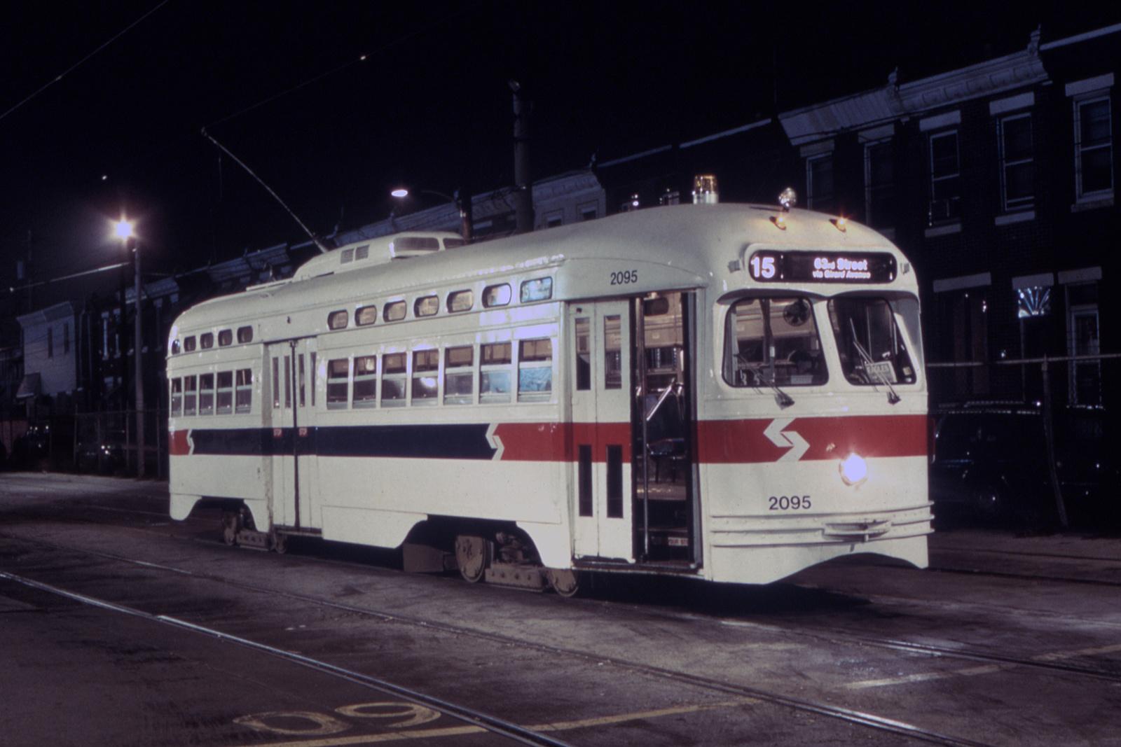 (101k, 1008x668)<br><b>Country:</b> United States<br><b>City:</b> Philadelphia, PA<br><b>System:</b> SEPTA (or Predecessor)<br><b>Line:</b> Rt. 15-Girard<br><b>Location:</b> Richmond/Westmoreland <br><b>Car:</b> PTC/SEPTA Postwar All-electric PCC (St.Louis, 1948)  2095 <br><b>Photo by:</b> Glenn L. Rowe<br><b>Date:</b> 9/4/1992<br><b>Viewed (this week/total):</b> 4 / 11956