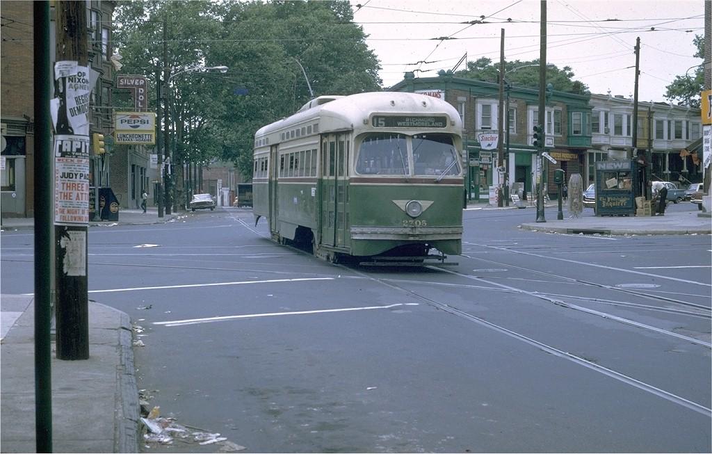 (198k, 1024x653)<br><b>Country:</b> United States<br><b>City:</b> Philadelphia, PA<br><b>System:</b> SEPTA (or Predecessor)<br><b>Line:</b> Rt. 15-Girard<br><b>Location:</b> Girard/60th/Haverford <br><b>Car:</b> PTC/SEPTA Postwar All-electric PCC (St.Louis, 1947)  2705 <br><b>Photo by:</b> Joe Testagrose<br><b>Date:</b> 6/1/1969<br><b>Viewed (this week/total):</b> 0 / 2062