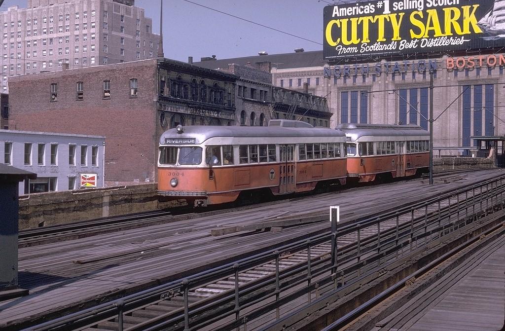 (290k, 1024x671)<br><b>Country:</b> United States<br><b>City:</b> Boston, MA<br><b>System:</b> MBTA<br><b>Line:</b> MBTA Green <br><b>Location:</b> North Station (Viaduct) <br><b>Car:</b> MBTA/BSRy PCC Tremont (Pullman-Standard, 1941)  3004 <br><b>Photo by:</b> Joe Testagrose<br><b>Date:</b> 8/10/1970<br><b>Viewed (this week/total):</b> 3 / 15557