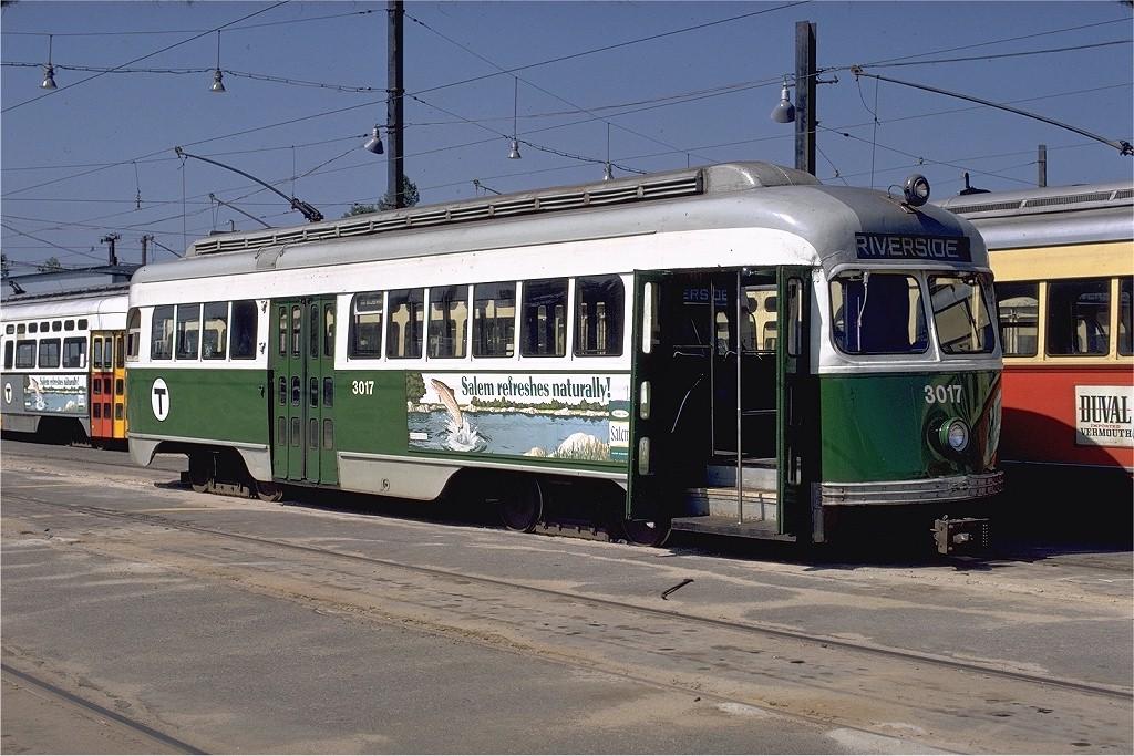 (220k, 1024x683)<br><b>Country:</b> United States<br><b>City:</b> Boston, MA<br><b>System:</b> MBTA<br><b>Line:</b> MBTA Green (D)<br><b>Location:</b> Riverside Yard <br><b>Car:</b> MBTA/BSRy PCC Tremont (Pullman-Standard, 1941)  3017 <br><b>Photo by:</b> Phil Hom<br><b>Collection of:</b> Joe Testagrose<br><b>Date:</b> 8/13/1972<br><b>Viewed (this week/total):</b> 0 / 2012