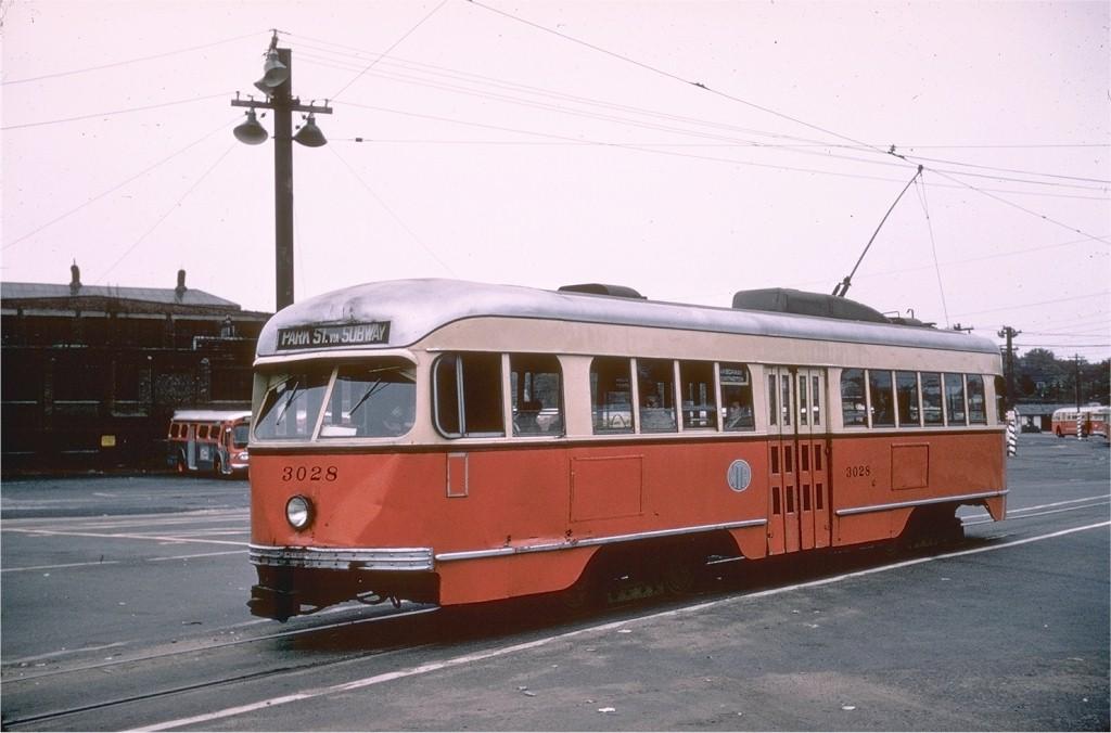 (148k, 1024x676)<br><b>Country:</b> United States<br><b>City:</b> Boston, MA<br><b>System:</b> MBTA<br><b>Line:</b> MBTA Green (E)<br><b>Location:</b> Arborway/Arborway Yard<br><b>Car:</b> MBTA/BSRy PCC Wartime (Pullman-Standard, 1944)  3028 <br><b>Photo by:</b> Hal Greenwald<br><b>Collection of:</b> Joe Testagrose<br><b>Date:</b> 9/23/1962<br><b>Viewed (this week/total):</b> 1 / 2002