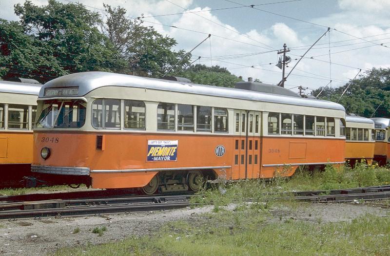 (176k, 800x524)<br><b>Country:</b> United States<br><b>City:</b> Boston, MA<br><b>System:</b> MBTA<br><b>Line:</b> MBTA Green (E)<br><b>Location:</b> Arborway/Arborway Yard<br><b>Car:</b> MBTA/BSRy PCC Wartime (Pullman-Standard, 1944)  3048 <br><b>Photo by:</b> <a href=http://www.tramway.com/>www.tramway.com</a><br><b>Collection of:</b> Joe Testagrose<br><b>Date:</b> 7/25/1959<br><b>Viewed (this week/total):</b> 0 / 1881