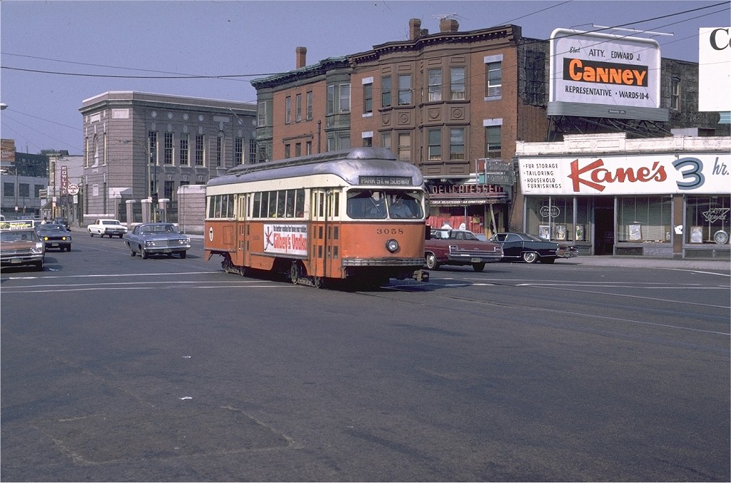 (206k, 1024x677)<br><b>Country:</b> United States<br><b>City:</b> Boston, MA<br><b>System:</b> MBTA<br><b>Line:</b> MBTA Green (E)<br><b>Location:</b> Huntington & Francis<br><b>Car:</b> MBTA/BSRy PCC Wartime (Pullman-Standard, 1944)  3058 <br><b>Photo by:</b> Joe Testagrose<br><b>Date:</b> 8/8/1970<br><b>Viewed (this week/total):</b> 2 / 2805
