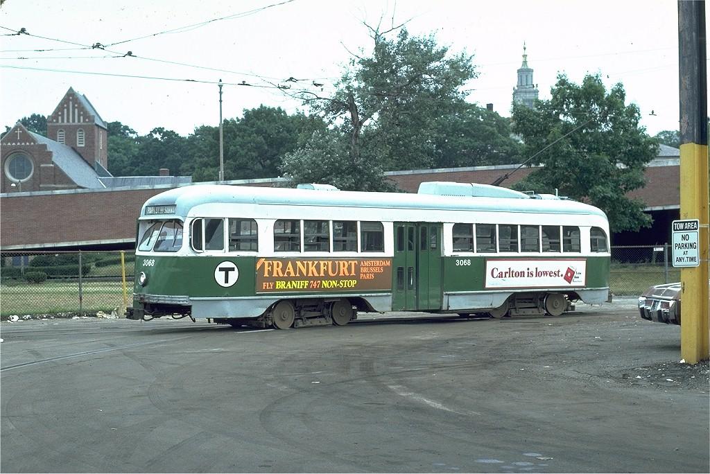 (229k, 1024x684)<br><b>Country:</b> United States<br><b>City:</b> Boston, MA<br><b>System:</b> MBTA<br><b>Line:</b> MBTA Green (E)<br><b>Location:</b> Arborway/Arborway Yard<br><b>Car:</b> MBTA/BSRy PCC Wartime (Pullman-Standard, 1944)  3068 <br><b>Photo by:</b> Joe Testagrose<br><b>Date:</b> 7/29/1979<br><b>Viewed (this week/total):</b> 1 / 1714