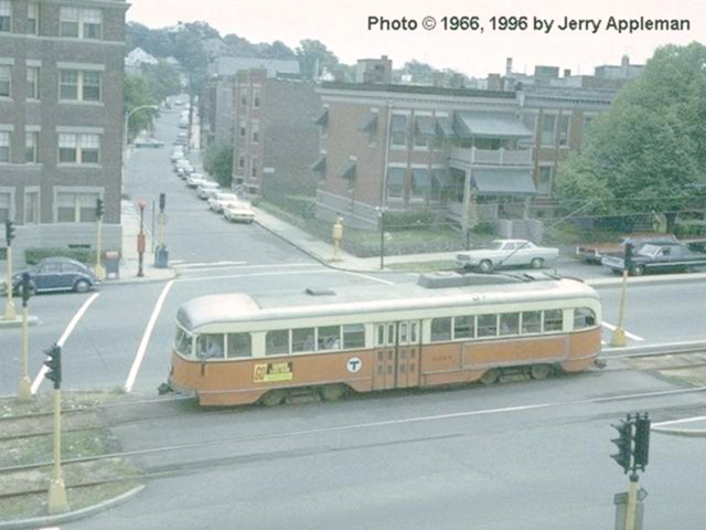 (65k, 640x480)<br><b>Country:</b> United States<br><b>City:</b> Boston, MA<br><b>System:</b> MBTA<br><b>Line:</b> MBTA Green (B)<br><b>Location:</b> Commonwealth & Summit <br><b>Car:</b> MBTA/BSRy PCC Wartime (Pullman-Standard, 1944)  3068 <br><b>Photo by:</b> Jerry Appleman<br><b>Collection of:</b> Joe Testagrose<br><b>Date:</b> 8/1966<br><b>Viewed (this week/total):</b> 0 / 2774