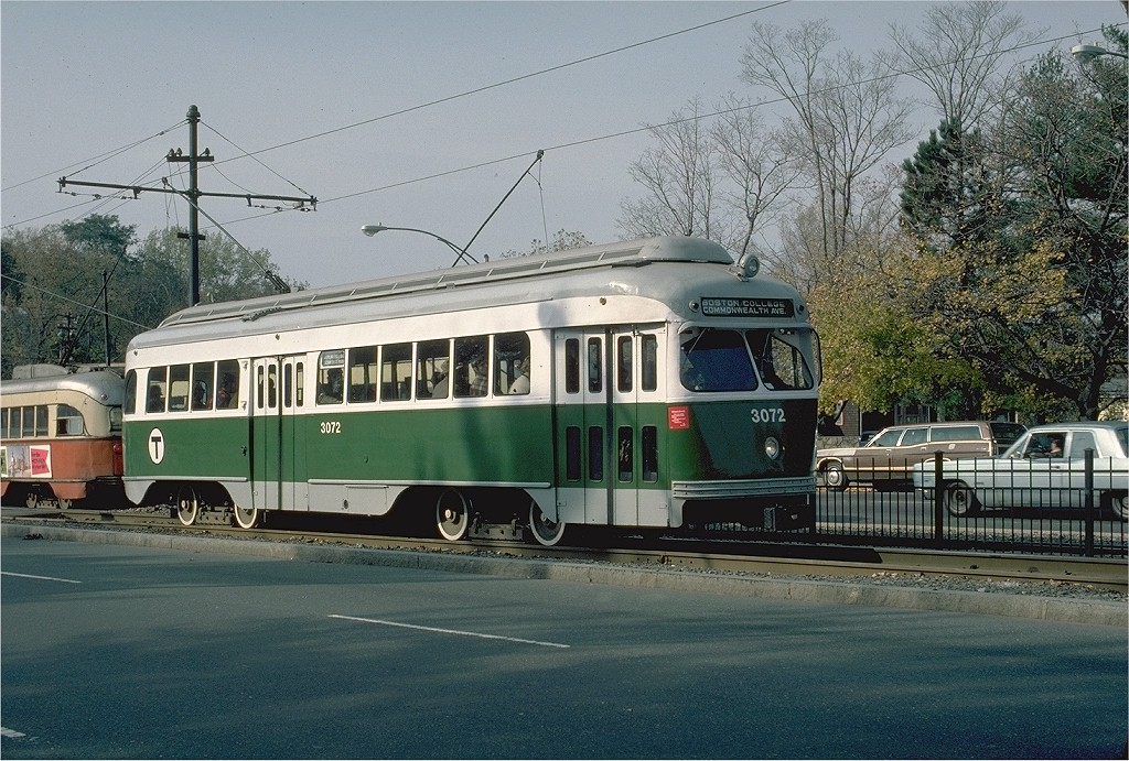 (254k, 1024x691)<br><b>Country:</b> United States<br><b>City:</b> Boston, MA<br><b>System:</b> MBTA<br><b>Line:</b> MBTA Green (B)<br><b>Location:</b> Commonwealth & Lake <br><b>Car:</b> MBTA/BSRy PCC Wartime (Pullman-Standard, 1945)  3072 <br><b>Photo by:</b> Gerald H. Landau<br><b>Collection of:</b> Joe Testagrose<br><b>Date:</b> 11/1976<br><b>Viewed (this week/total):</b> 0 / 1896