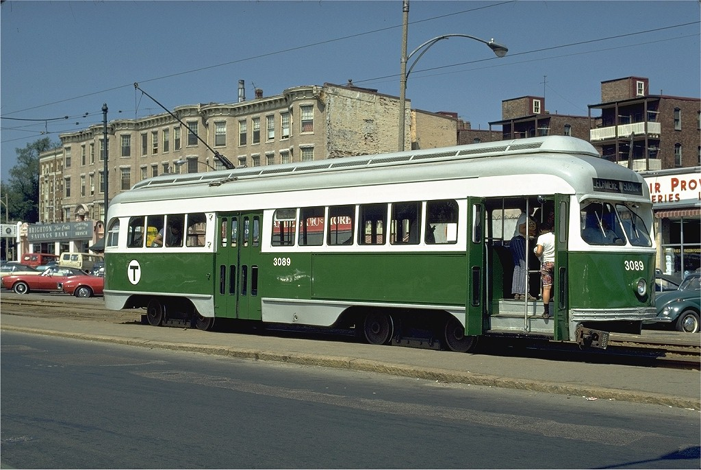 (217k, 1024x686)<br><b>Country:</b> United States<br><b>City:</b> Boston, MA<br><b>System:</b> MBTA<br><b>Line:</b> MBTA Green (C)<br><b>Location:</b> Cleveland Circle <br><b>Car:</b> MBTA/BSRy PCC Wartime (Pullman-Standard, 1945)  3089 <br><b>Photo by:</b> Phil Hom<br><b>Collection of:</b> Joe Testagrose<br><b>Date:</b> 8/13/1972<br><b>Viewed (this week/total):</b> 1 / 1889