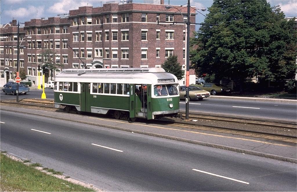(263k, 1024x662)<br><b>Country:</b> United States<br><b>City:</b> Boston, MA<br><b>System:</b> MBTA<br><b>Line:</b> MBTA Green (B)<br><b>Location:</b> Commonwealth & Warren <br><b>Car:</b> MBTA/BSRy PCC Wartime (Pullman-Standard, 1944)  3110 <br><b>Collection of:</b> Joe Testagrose<br><b>Date:</b> 8/1973<br><b>Viewed (this week/total):</b> 0 / 1545