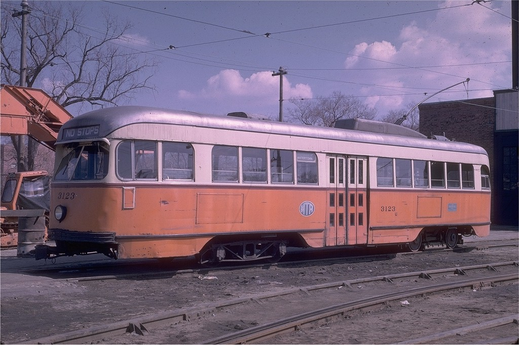 (221k, 1024x680)<br><b>Country:</b> United States<br><b>City:</b> Boston, MA<br><b>System:</b> MBTA<br><b>Line:</b> MBTA Green (A)<br><b>Location:</b> Watertown Yard <br><b>Car:</b> MBTA/BSRy PCC Wartime (Pullman-Standard, 1944)  3123 <br><b>Photo by:</b> Richard Short<br><b>Collection of:</b> Joe Testagrose<br><b>Viewed (this week/total):</b> 0 / 1727