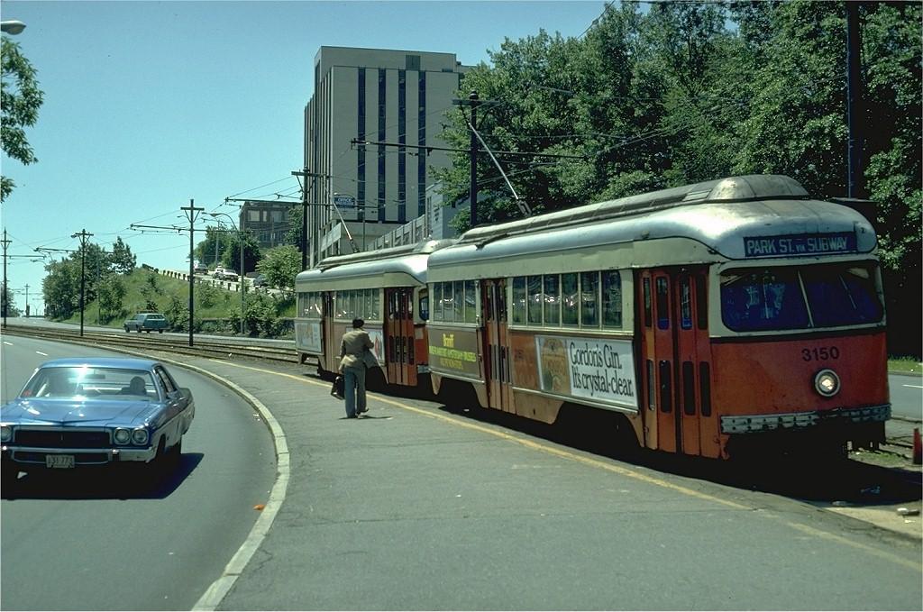 (221k, 1024x679)<br><b>Country:</b> United States<br><b>City:</b> Boston, MA<br><b>System:</b> MBTA<br><b>Line:</b> MBTA Green (B)<br><b>Location:</b> Commonwealth & Warren<br><b>Car:</b> MBTA/BSRy PCC Wartime (Pullman-Standard, 1945) 3150 <br><b>Photo by:</b> Steve Zabel<br><b>Collection of:</b> Joe Testagrose<br><b>Date:</b> 6/9/1980<br><b>Viewed (this week/total):</b> 1 / 2025