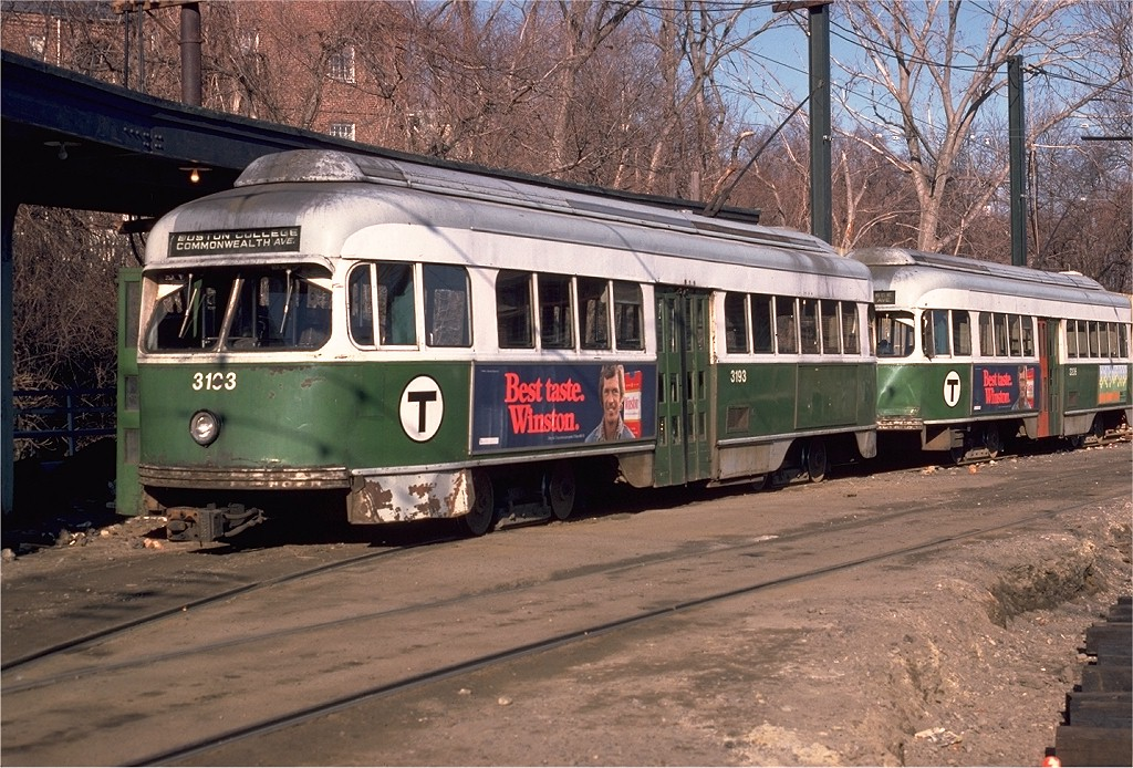 (259k, 1024x694)<br><b>Country:</b> United States<br><b>City:</b> Boston, MA<br><b>System:</b> MBTA<br><b>Line:</b> MBTA Green (B)<br><b>Location:</b> Boston College <br><b>Car:</b> MBTA/BSRy PCC Wartime (Pullman-Standard, 1945)  3193 <br><b>Photo by:</b> Ed McKernan<br><b>Collection of:</b> Joe Testagrose<br><b>Date:</b> 3/24/1979<br><b>Viewed (this week/total):</b> 4 / 2066