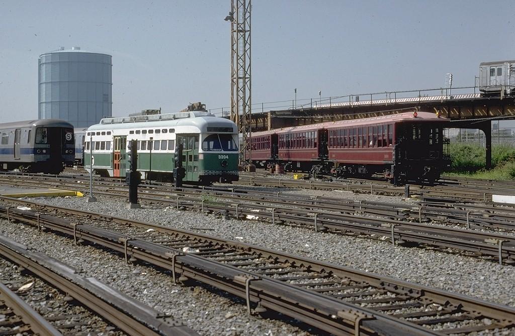 (239k, 1024x669)<br><b>Country:</b> United States<br><b>City:</b> New York<br><b>System:</b> New York City Transit<br><b>Location:</b> Coney Island Yard<br><b>Car:</b> MBTA/BSRy PCC Post-War All Electric (Pullman-Standard, 1946)  3204 <br><b>Photo by:</b> Steve Zabel<br><b>Collection of:</b> Joe Testagrose<br><b>Date:</b> 8/31/1979<br><b>Viewed (this week/total):</b> 1 / 3582