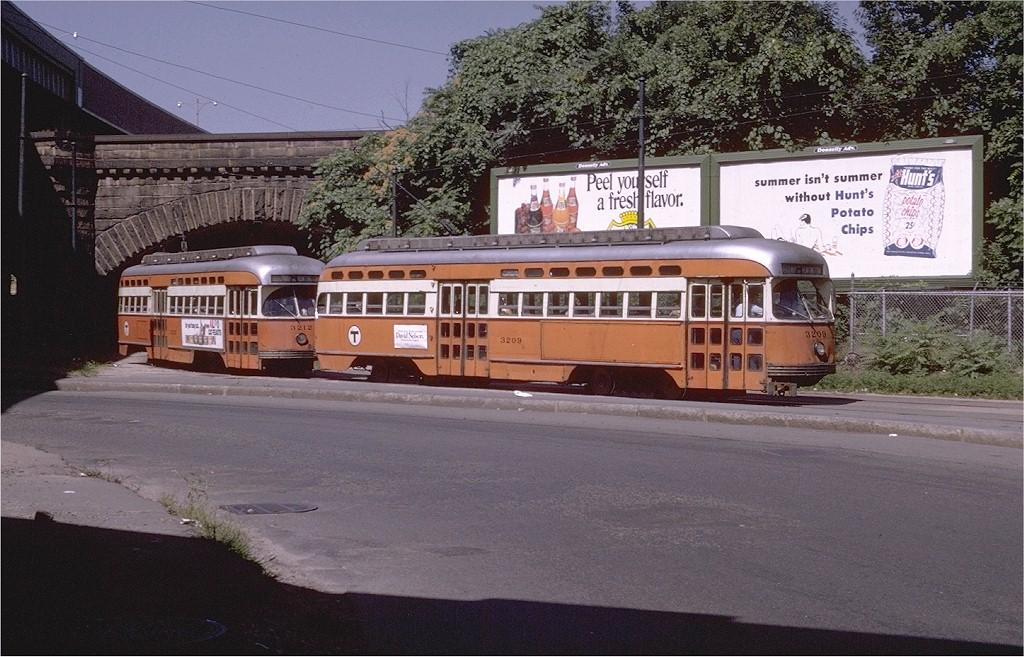 (222k, 1024x657)<br><b>Country:</b> United States<br><b>City:</b> Boston, MA<br><b>System:</b> MBTA<br><b>Location:</b> Washington Street<br><b>Route:</b> E<br><b>Car:</b> MBTA/BSRy PCC Post-War All Electric (Pullman-Standard, 1946)  3209 <br><b>Photo by:</b> Joe Testagrose<br><b>Date:</b> 8/13/1970<br><b>Viewed (this week/total):</b> 0 / 1822