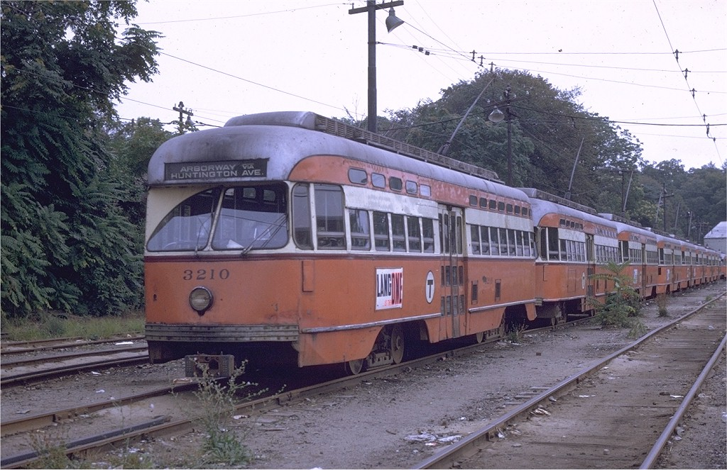 (222k, 1024x663)<br><b>Country:</b> United States<br><b>City:</b> Boston, MA<br><b>System:</b> MBTA<br><b>Line:</b> MBTA Green (E)<br><b>Location:</b> Arborway/Arborway Yard<br><b>Car:</b> MBTA/BSRy PCC Post-War All Electric (Pullman-Standard, 1946)  3210 <br><b>Photo by:</b> Joe Testagrose<br><b>Date:</b> 9/3/1969<br><b>Viewed (this week/total):</b> 0 / 1513