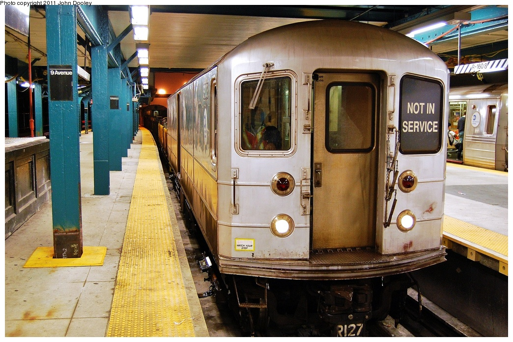 (389k, 1044x695)<br><b>Country:</b> United States<br><b>City:</b> New York<br><b>System:</b> New York City Transit<br><b>Line:</b> BMT West End Line<br><b>Location:</b> 9th Avenue <br><b>Route:</b> Work Service<br><b>Car:</b> R-127/R-134 (Kawasaki, 1991-1996) EP007 <br><b>Photo by:</b> John Dooley<br><b>Date:</b> 9/6/2011<br><b>Viewed (this week/total):</b> 0 / 1232