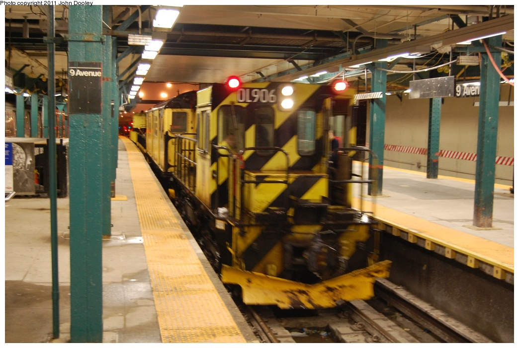 (302k, 1044x701)<br><b>Country:</b> United States<br><b>City:</b> New York<br><b>System:</b> New York City Transit<br><b>Line:</b> BMT West End Line<br><b>Location:</b> 9th Avenue <br><b>Route:</b> Work Service<br><b>Car:</b> R-120 Locomotive  906 <br><b>Photo by:</b> John Dooley<br><b>Date:</b> 9/6/2011<br><b>Viewed (this week/total):</b> 0 / 1158