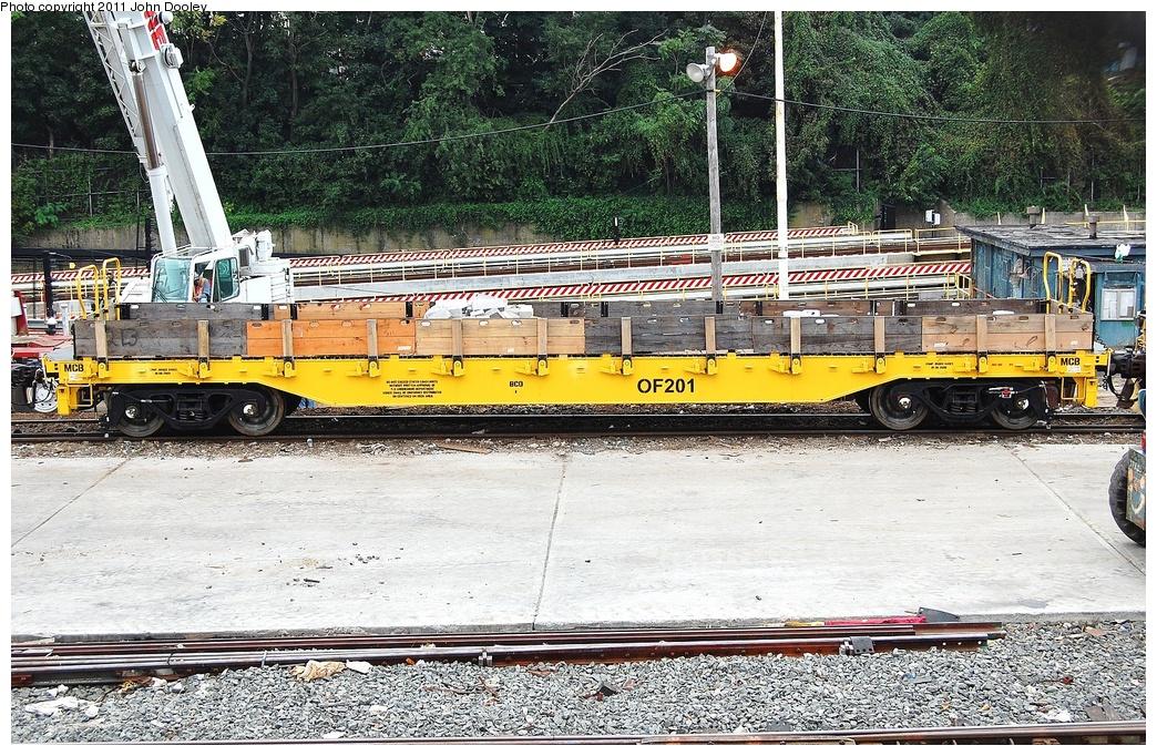 (476k, 1044x682)<br><b>Country:</b> United States<br><b>City:</b> New York<br><b>System:</b> New York City Transit<br><b>Location:</b> 36th Street Yard<br><b>Route:</b> Work Service<br><b>Car:</b> R-72 Trailer Flat Car (Garrett, 1983)  201 <br><b>Photo by:</b> John Dooley<br><b>Date:</b> 9/21/2011<br><b>Viewed (this week/total):</b> 12 / 699
