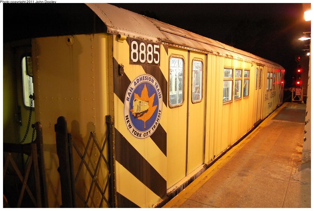 (334k, 1044x701)<br><b>Country:</b> United States<br><b>City:</b> New York<br><b>System:</b> New York City Transit<br><b>Line:</b> IRT Dyre Ave. Line<br><b>Location:</b> Dyre Avenue <br><b>Route:</b> Work Service<br><b>Car:</b> Rail Adhesion Train (R-30/R-33 Rebuilds) 8885 <br><b>Photo by:</b> John Dooley<br><b>Date:</b> 10/29/2011<br><b>Viewed (this week/total):</b> 3 / 1744