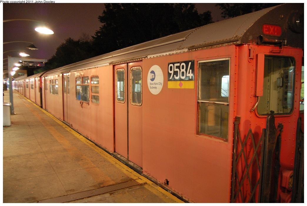 (312k, 1044x701)<br><b>Country:</b> United States<br><b>City:</b> New York<br><b>System:</b> New York City Transit<br><b>Line:</b> IRT Dyre Ave. Line<br><b>Location:</b> Dyre Avenue <br><b>Route:</b> Work Service<br><b>Car:</b> R-36 World's Fair (St. Louis, 1963-64) 9584 <br><b>Photo by:</b> John Dooley<br><b>Date:</b> 10/29/2011<br><b>Viewed (this week/total):</b> 0 / 1108