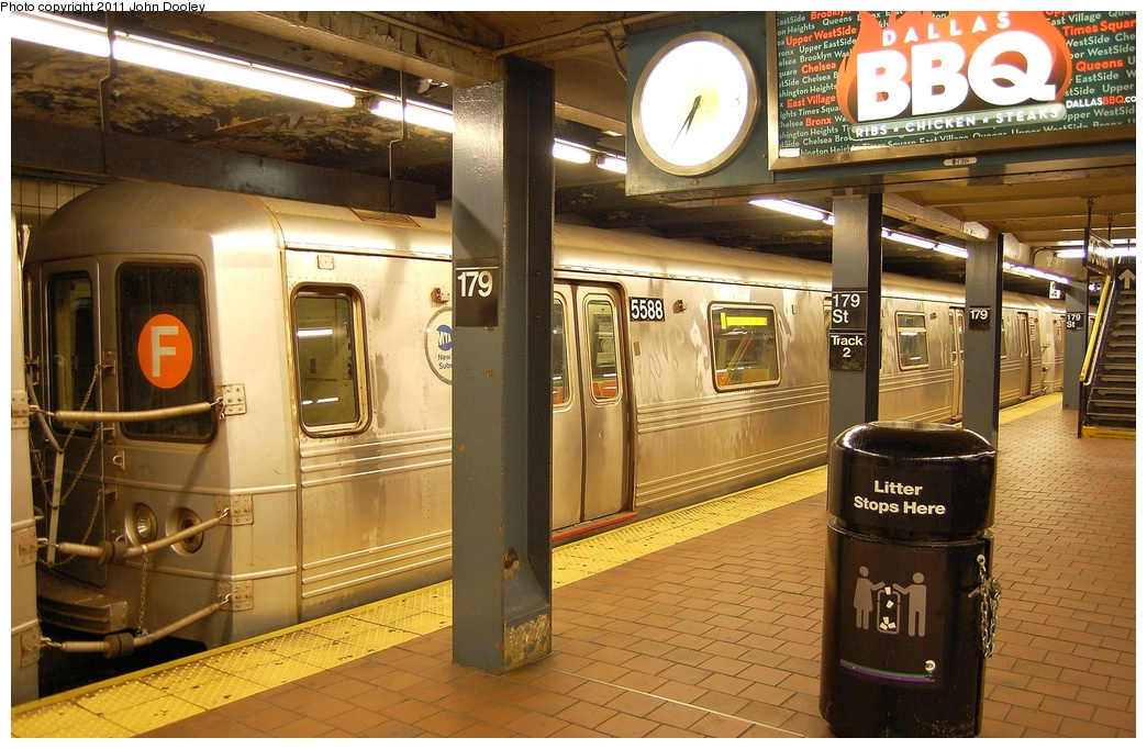 (359k, 1044x682)<br><b>Country:</b> United States<br><b>City:</b> New York<br><b>System:</b> New York City Transit<br><b>Line:</b> IND Queens Boulevard Line<br><b>Location:</b> 179th Street<br><b>Route:</b> F<br><b>Car:</b> R-46 (Pullman-Standard, 1974-75) 5588 <br><b>Photo by:</b> John Dooley<br><b>Date:</b> 10/30/2011<br><b>Viewed (this week/total):</b> 0 / 1802
