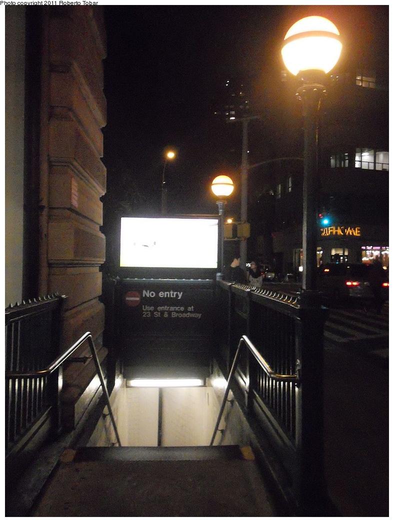(292k, 788x1044)<br><b>Country:</b> United States<br><b>City:</b> New York<br><b>System:</b> New York City Transit<br><b>Line:</b> BMT Broadway Line<br><b>Location:</b> 23rd Street <br><b>Photo by:</b> Roberto C. Tobar<br><b>Date:</b> 10/21/2011<br><b>Viewed (this week/total):</b> 2 / 884