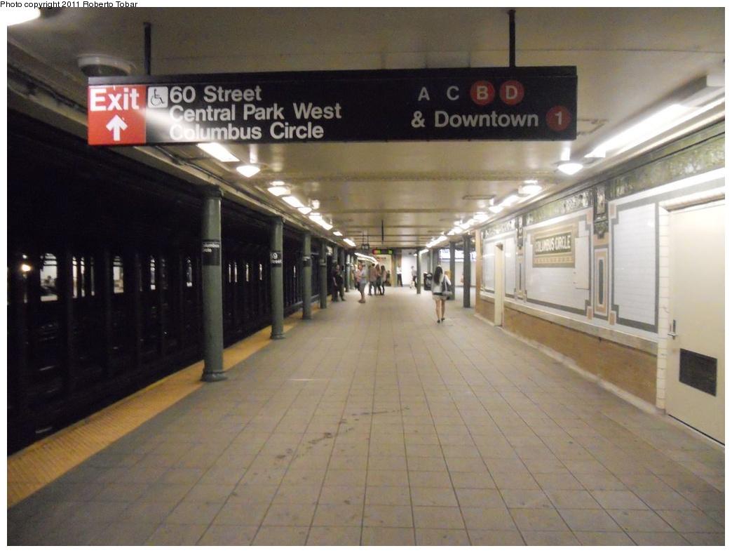 (274k, 1044x788)<br><b>Country:</b> United States<br><b>City:</b> New York<br><b>System:</b> New York City Transit<br><b>Line:</b> IRT West Side Line<br><b>Location:</b> 59th Street/Columbus Circle <br><b>Photo by:</b> Roberto C. Tobar<br><b>Date:</b> 8/19/2011<br><b>Viewed (this week/total):</b> 2 / 1136