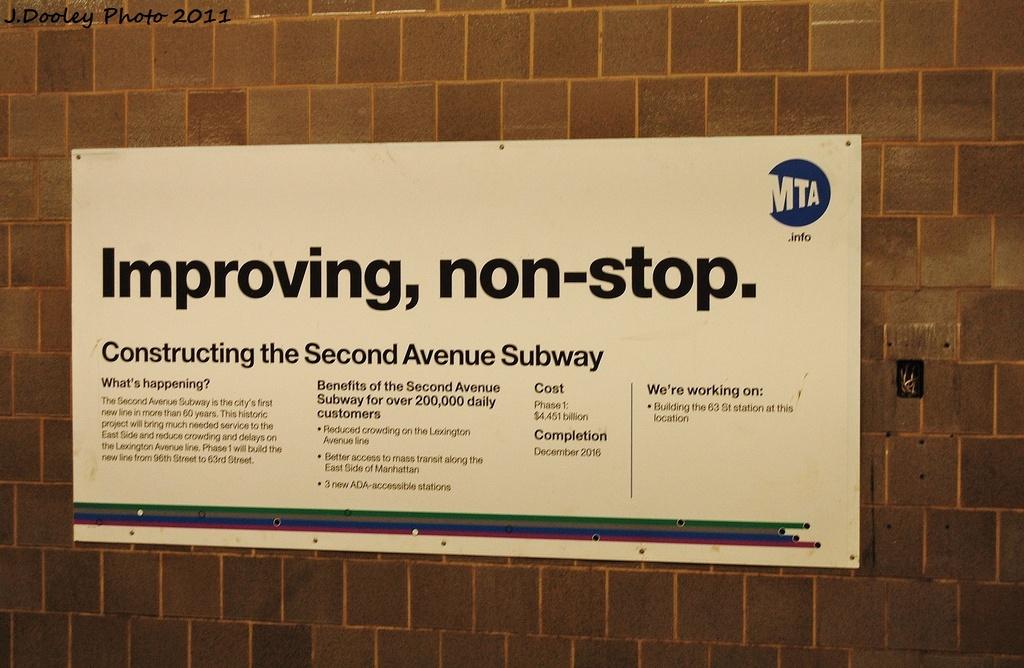 (298k, 1024x668)<br><b>Country:</b> United States<br><b>City:</b> New York<br><b>System:</b> New York City Transit<br><b>Line:</b> IND 63rd Street<br><b>Location:</b> Lexington Avenue-63rd Street <br><b>Photo by:</b> John Dooley<br><b>Date:</b> 10/12/2011<br><b>Viewed (this week/total):</b> 1 / 1663