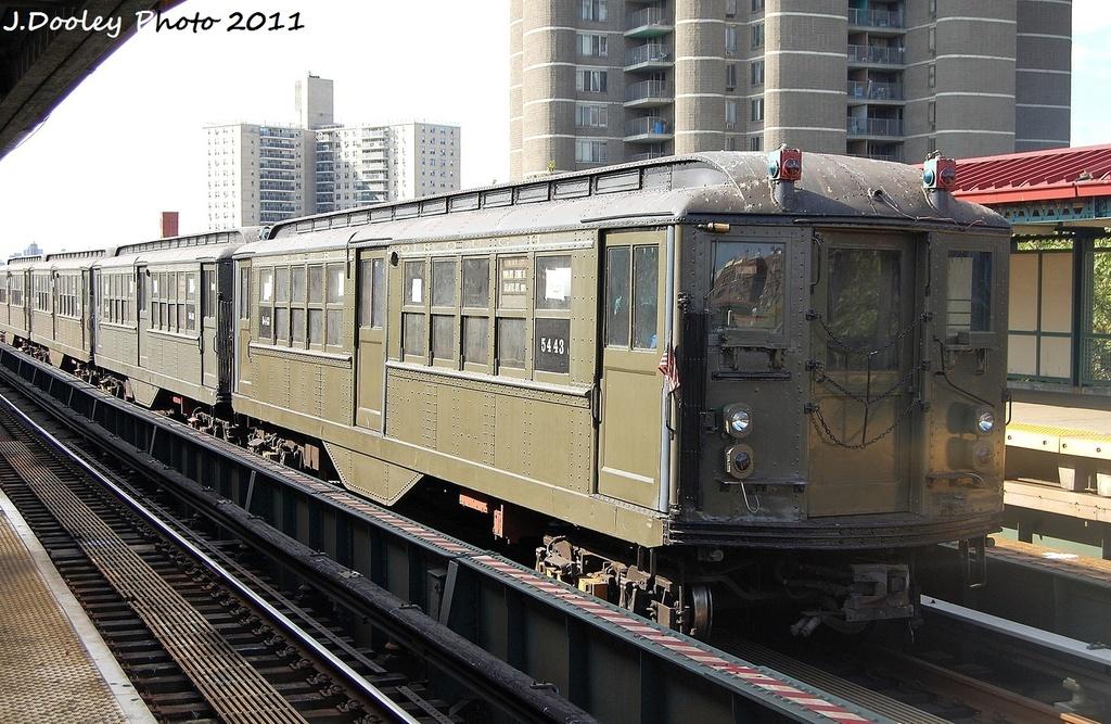 (376k, 1024x667)<br><b>Country:</b> United States<br><b>City:</b> New York<br><b>System:</b> New York City Transit<br><b>Line:</b> IRT Woodlawn Line<br><b>Location:</b> Mosholu Parkway <br><b>Route:</b> Fan Trip<br><b>Car:</b> Low-V (Museum Train) 5443 <br><b>Photo by:</b> John Dooley<br><b>Date:</b> 10/23/2011<br><b>Viewed (this week/total):</b> 2 / 982