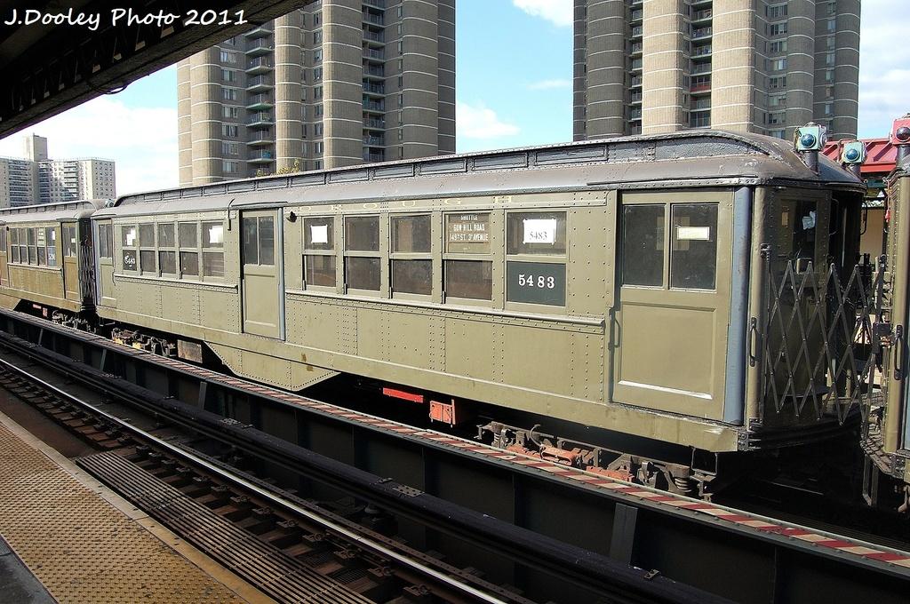 (403k, 1024x680)<br><b>Country:</b> United States<br><b>City:</b> New York<br><b>System:</b> New York City Transit<br><b>Line:</b> IRT Woodlawn Line<br><b>Location:</b> Mosholu Parkway <br><b>Route:</b> Fan Trip<br><b>Car:</b> Low-V (Museum Train) 5483 <br><b>Photo by:</b> John Dooley<br><b>Date:</b> 10/23/2011<br><b>Viewed (this week/total):</b> 2 / 863