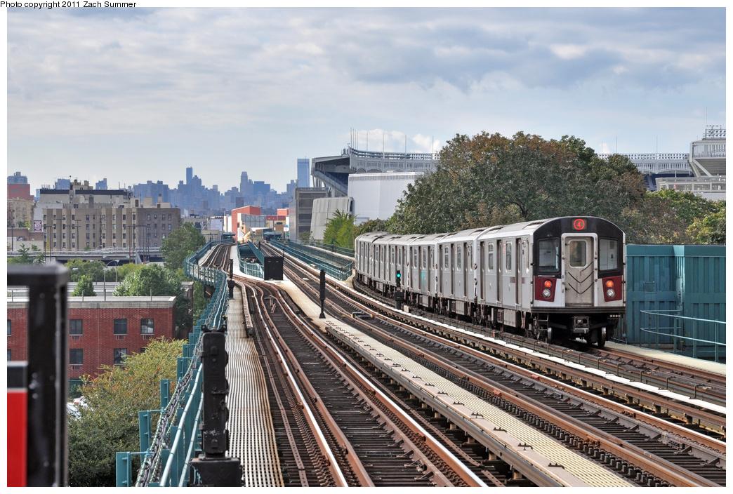 (414k, 1044x704)<br><b>Country:</b> United States<br><b>City:</b> New York<br><b>System:</b> New York City Transit<br><b>Line:</b> IRT Woodlawn Line<br><b>Location:</b> 167th Street <br><b>Route:</b> 4<br><b>Car:</b> R-142A (Supplemental Order, Kawasaki, 2003-2004)  7741 <br><b>Photo by:</b> Zach Summer<br><b>Date:</b> 10/23/2011<br><b>Viewed (this week/total):</b> 1 / 1364