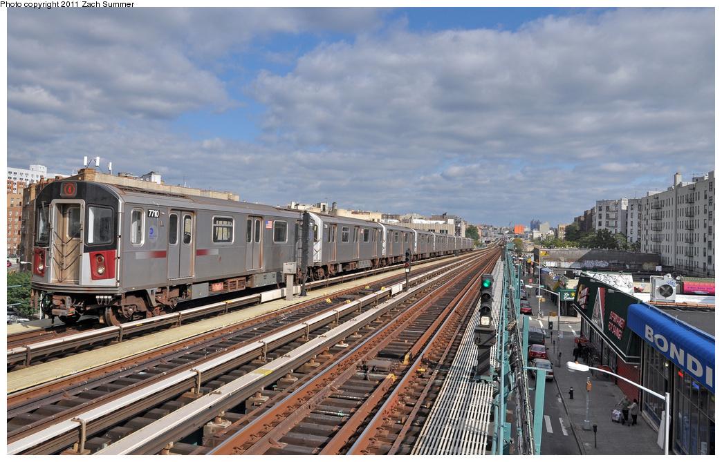 (383k, 1044x669)<br><b>Country:</b> United States<br><b>City:</b> New York<br><b>System:</b> New York City Transit<br><b>Line:</b> IRT Woodlawn Line<br><b>Location:</b> 170th Street <br><b>Route:</b> 4<br><b>Car:</b> R-142A (Option Order, Kawasaki, 2002-2003)  7710 <br><b>Photo by:</b> Zach Summer<br><b>Date:</b> 10/23/2011<br><b>Viewed (this week/total):</b> 1 / 940